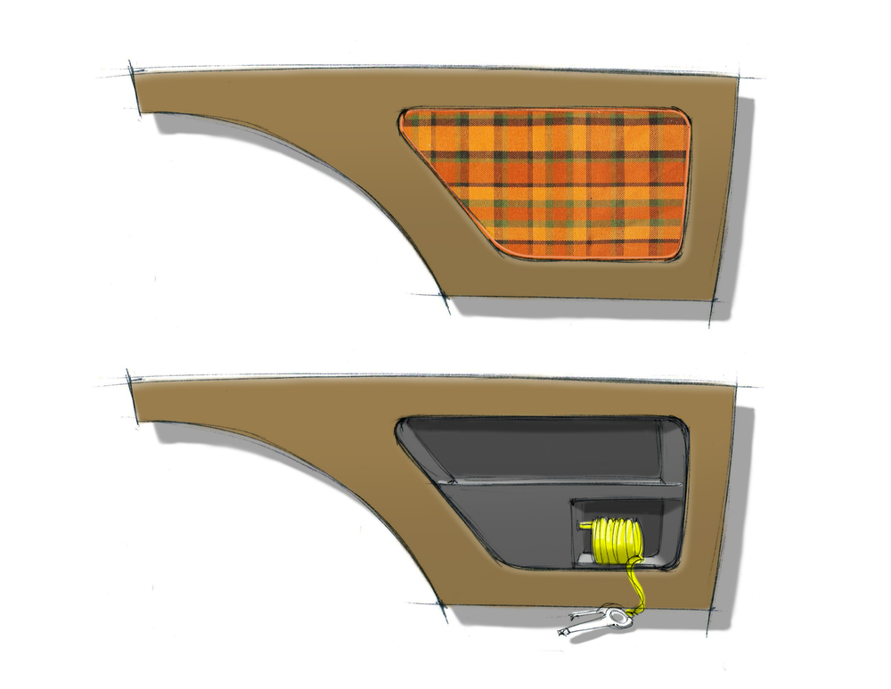 Rear cargo panels with removable door revealing a tool storage area and air compressor