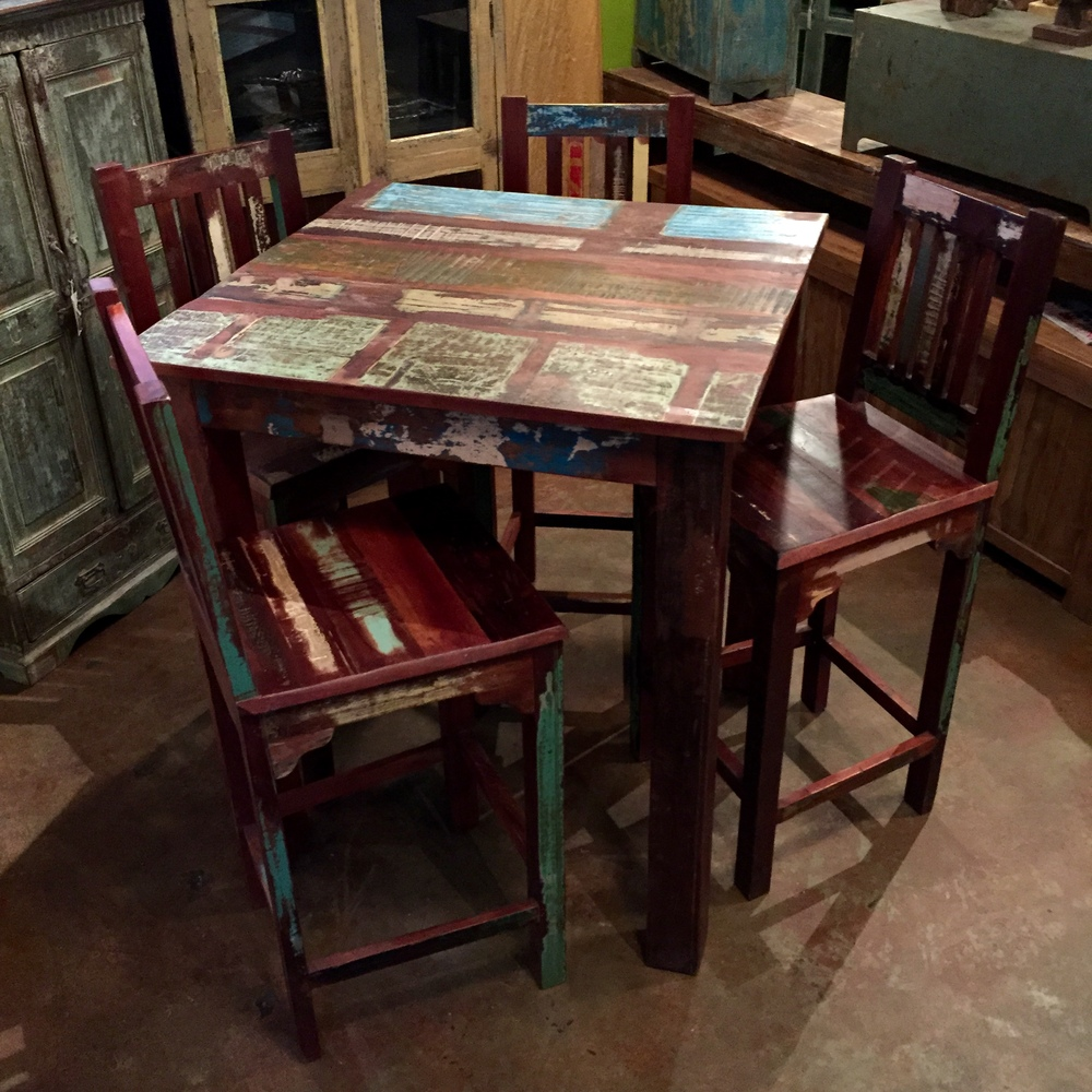 "Indian Reclaimed Wood Bar Table   Color pattern may vary since this is an item we produce.  36"" square x 41"" tall  $695.00  Barstools sold separately $295.00 each"