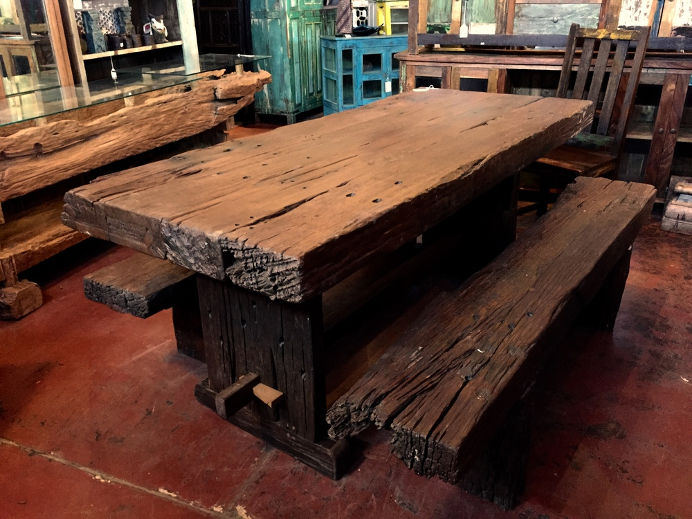 "Java Reclaimed Iron Wood Dining Table Set (SOLD)   Definitely the heaviest dining table that we have ever had! This table was made with reclaimed iron wood railroad ties from Central Java.  79""w x 33""d x 32""h  $3995.00 set"