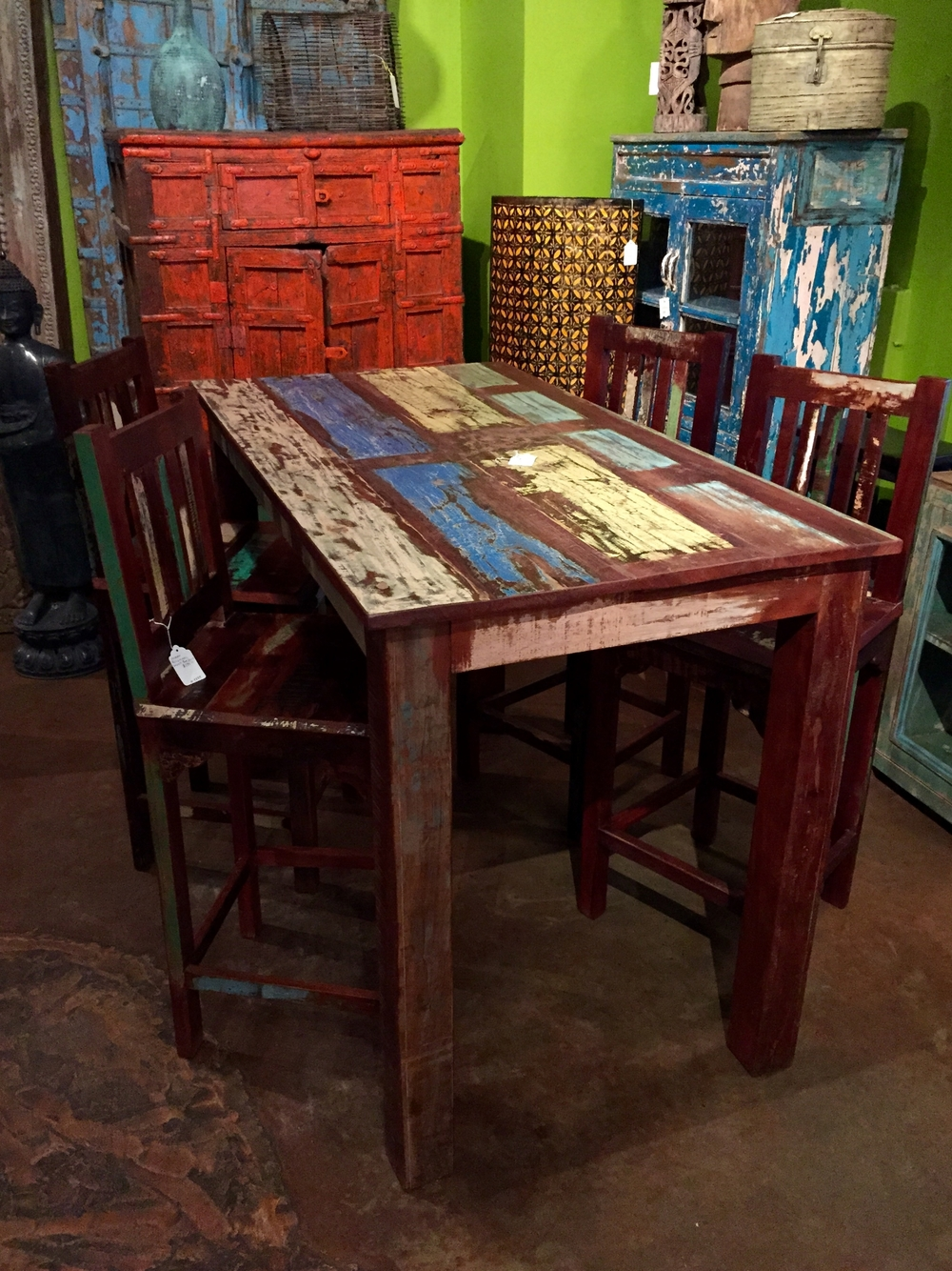 "Indian Reclaimed Wood Bar Table   Color pattern may vary since this is an item we produce.  60""w x 32""d x 41""h  $895.00  Barstools sold separately $295.00 each"