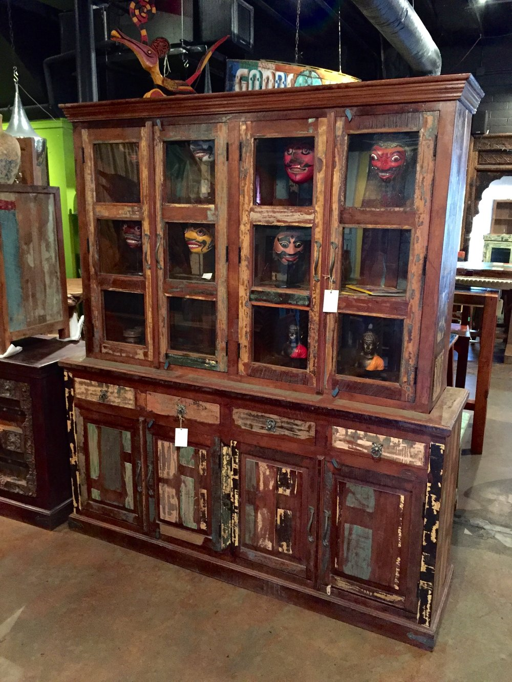 "Indian hutch made with 100% recycled wood.  73""w x 19""d x 84""h $2995.00 GP-121"