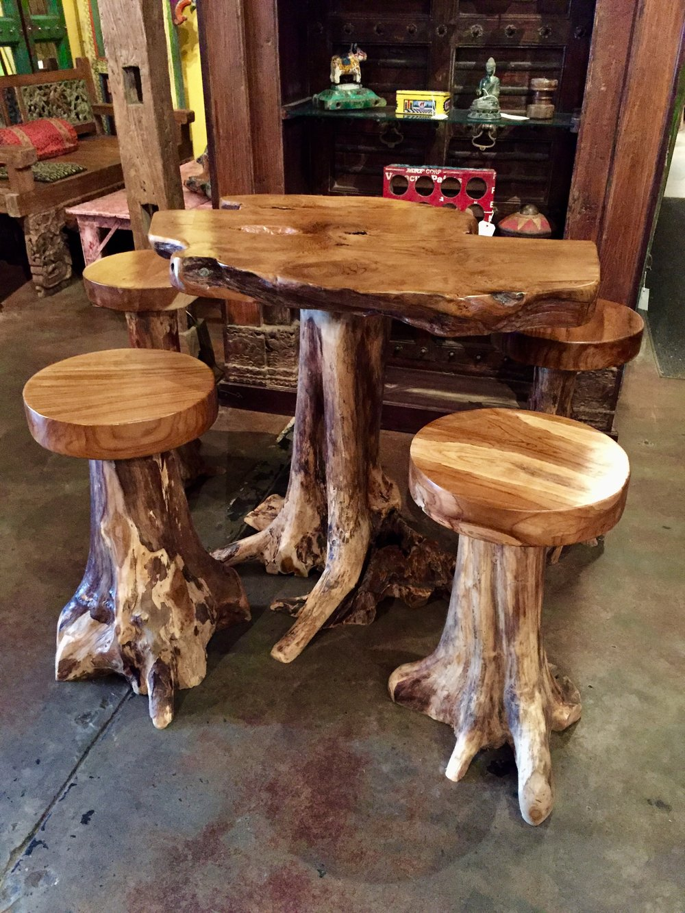 Balinese Teakwood root pub table set.   includes four stools and table.  $1995.00  SOLD OUT - MORE ON THE WAY   TBS-01