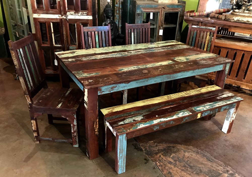 "Indian Reclaimed Wood Dining Table   Color pattern may vary since this is an item we produce.  available in three lengths - all 42"" wide.  72"" $1295.00  84"" $1495.00  96"" $1695.00  Chairs $245 each  #IND-RCW-27"
