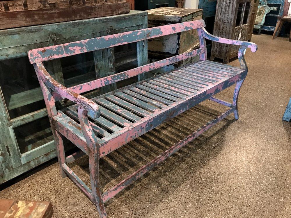 "Vintage Indian Bench   69""w x 24""d x 33""h   $795.00  #6552"