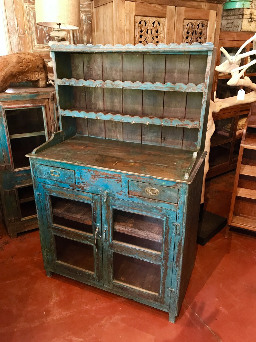"Vintage Indian Kitchen Hutch   41""w x 21""d x 64""h  $1395.00  #7266"