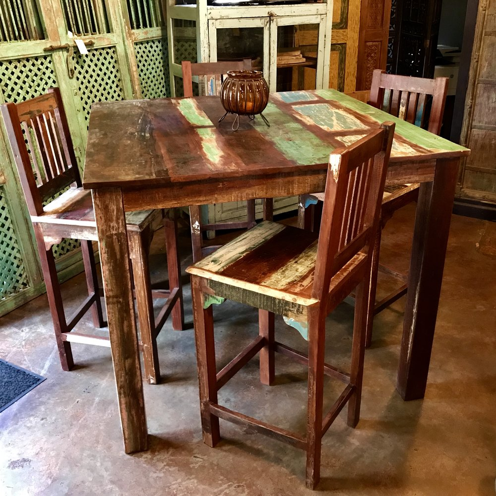 "Indian Reclaimed Wood Bar Table   Color pattern may vary since this is an item we produce.  48"" square x 41"" tall  $995.00  Barstools sold separately $295.00 each"