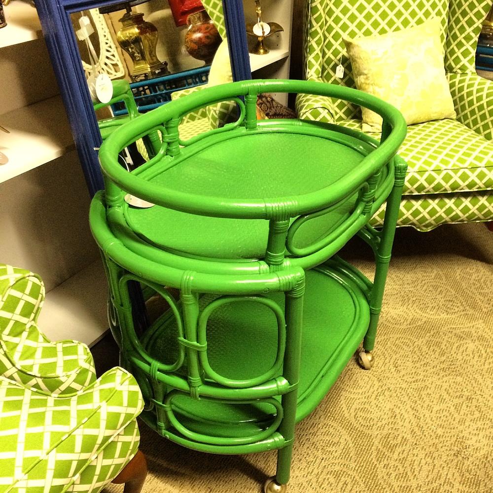 Green bamboo barcart.