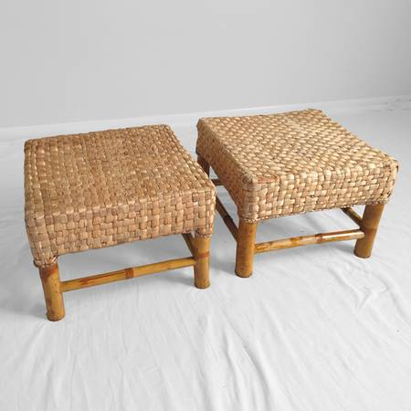 Seagrass and bamboo footstools. Put these with your favorite pair of chairs and yes! https://chicago.craigslist.org/nwc/fuo/5783991289.html or here (I'm dying over her insta)