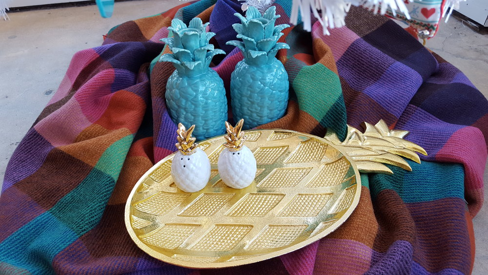Gold tray: $58, Salt & Pepper shaker: $14, Turquoise candle holders: $16 each