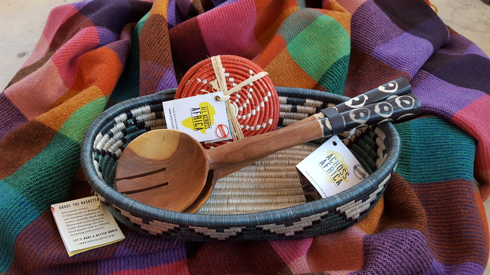 From All Across Africa, made by awesome ladies in Rwanda. Basket: $58, Spoon set: $38, Coasters: $35