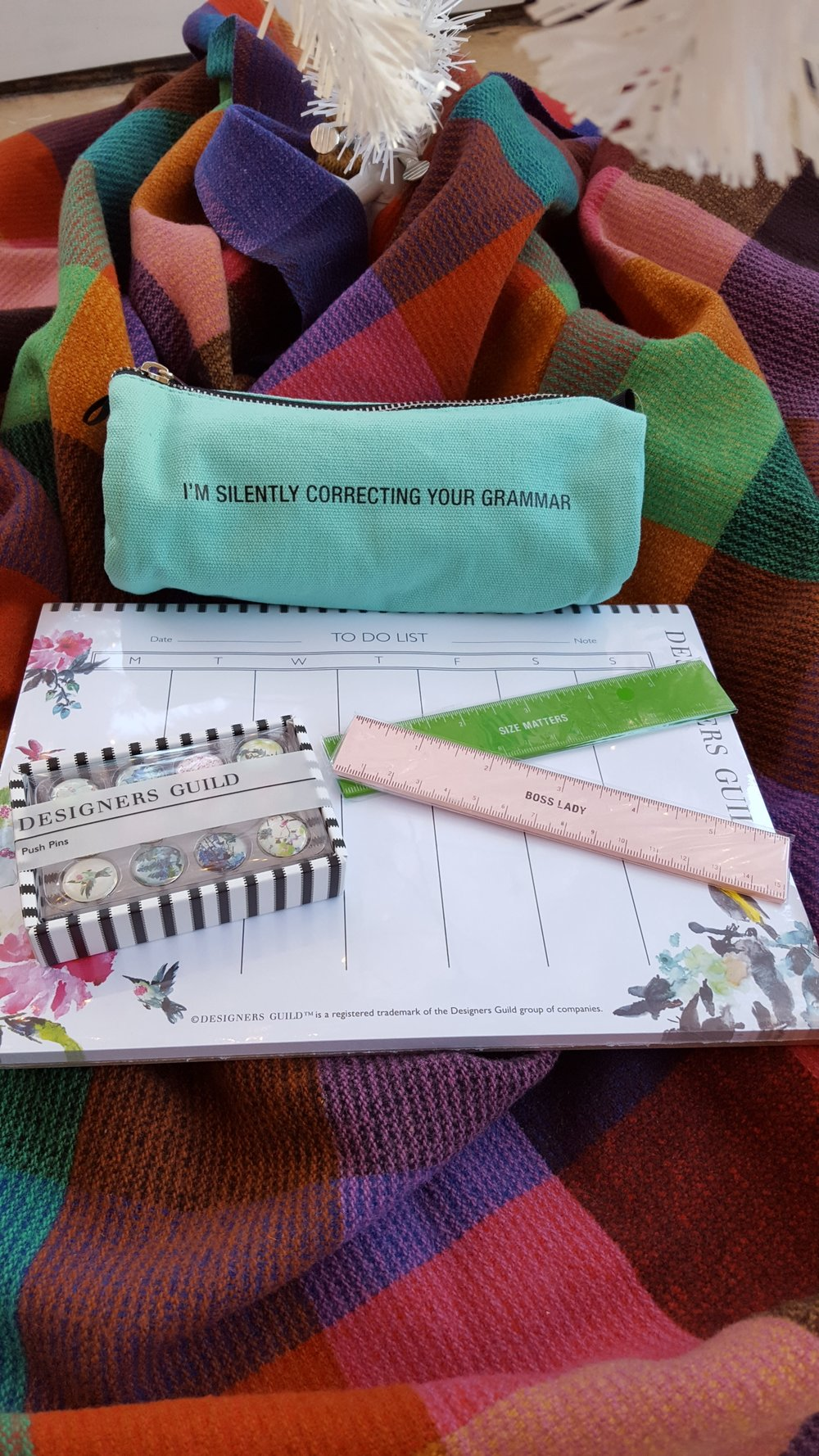 Pencil case: $10, Rulers: $4 each, To Do pad: $!8, Push pins: $13
