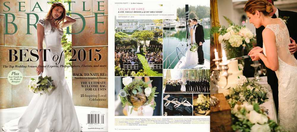 "Seattle Bride, Fall-Winter 2015 (two featured weddings, and first runner-up for ""Best Wedding Cakes 2015"")"