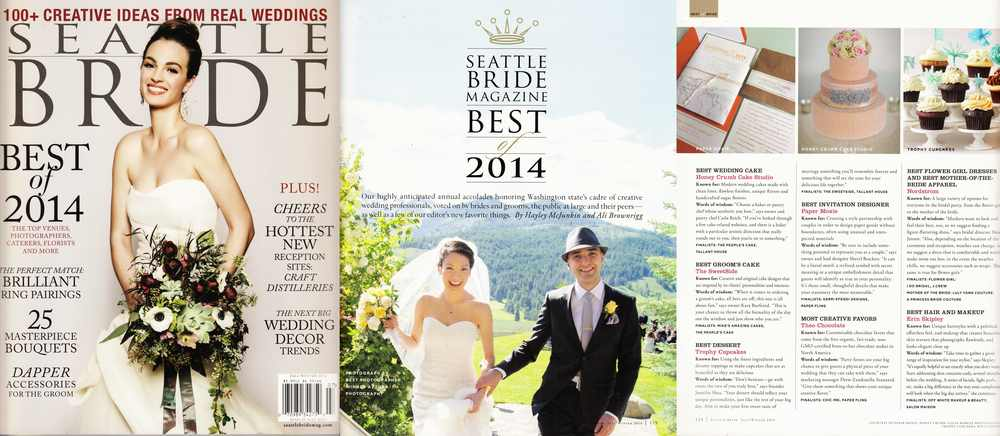 "Seattle Bride, Fall-Winter 2014, Winner, ""Best Wedding Cakes"" (Best of 2014)"