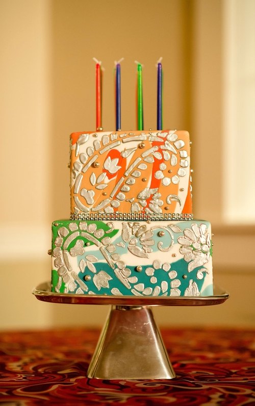 1960s Themed Birthday Cake With Silver Paisley And Tie Dyed Fondant Image Courtesy