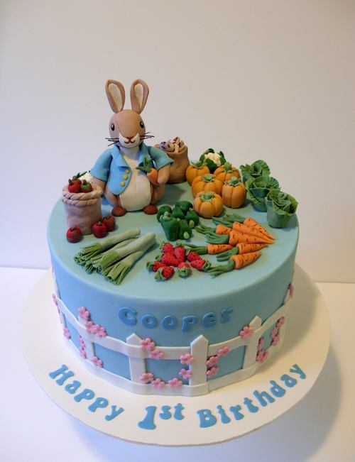 Beatrix Potter Birthday Cake With Sugar Vegetable Garden And Peter Rabbit Figurine Image C Carla