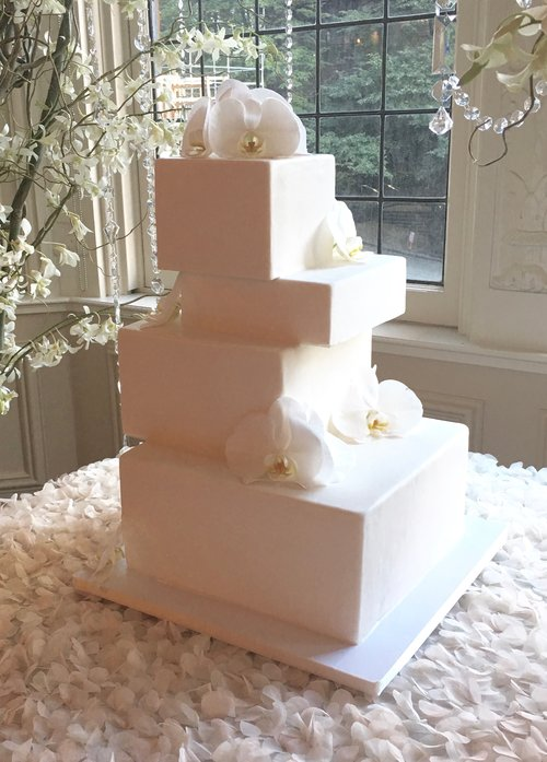 Cantilevered Square Wedding Cake With White Orchids Image C Carla Schier