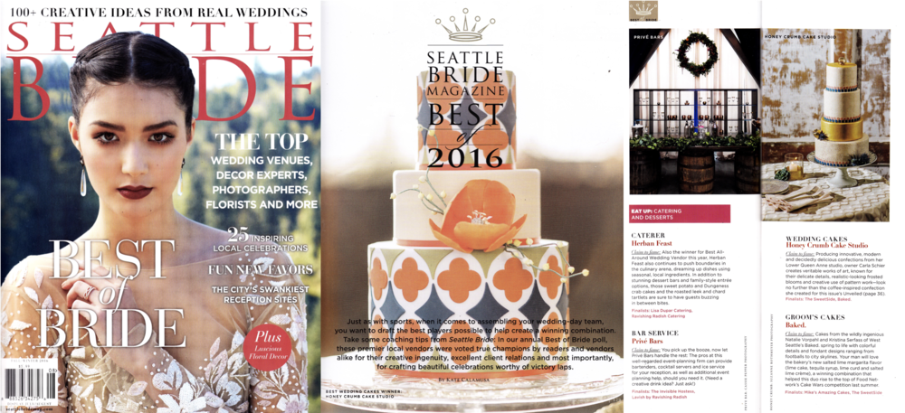 "Seattle Bride, Fall-Winter 2016 (winner, ""Best Wedding Cakes 2016"""