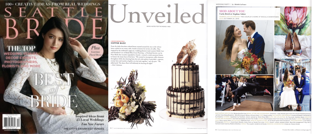 "Seattle Bride, Fall-Winter 2016 (""Unveiled"" feature, and our chef's own wedding published)"