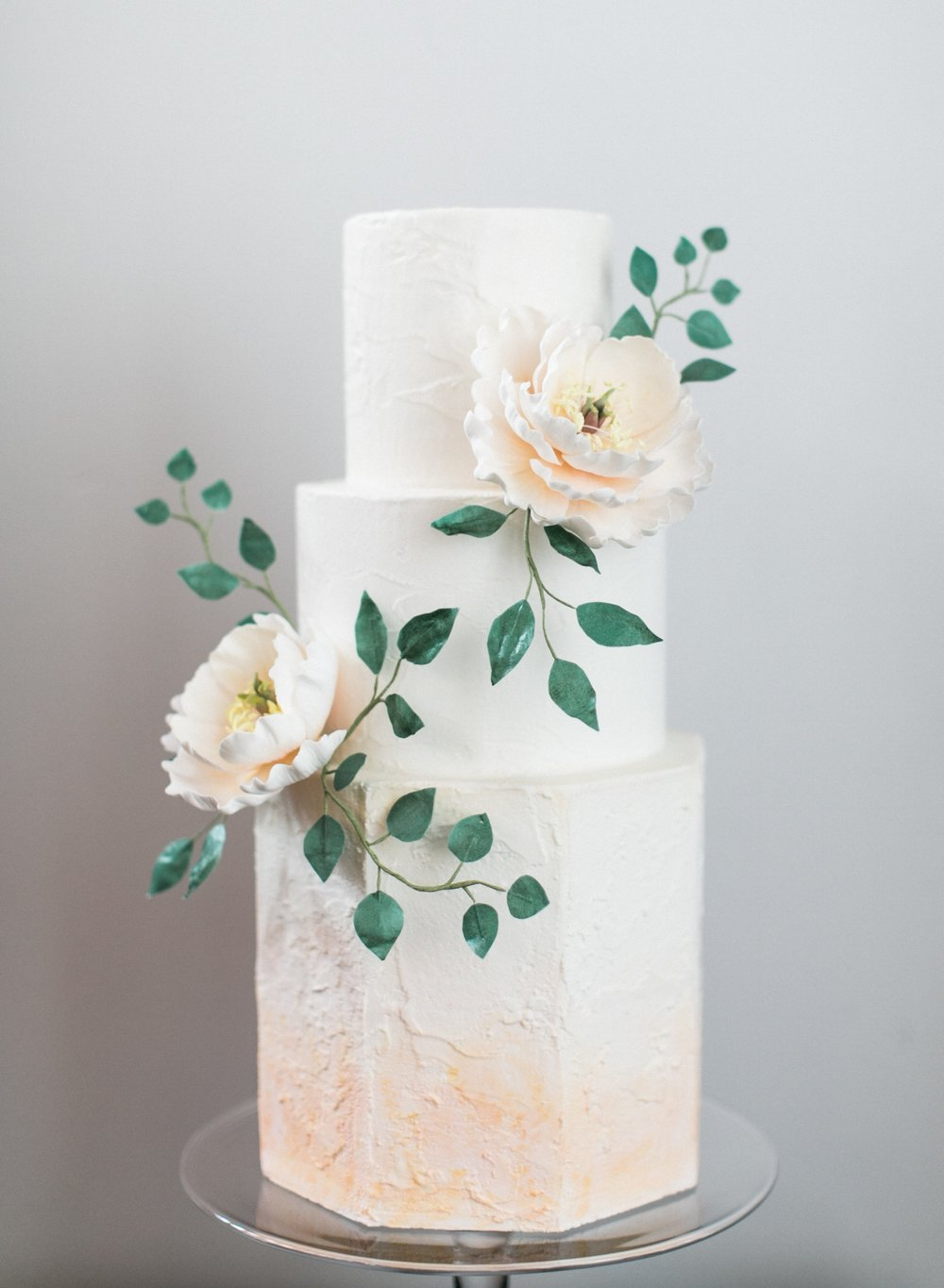 Watercolor cake with sugar flowers - photo by Matthew Land Studios