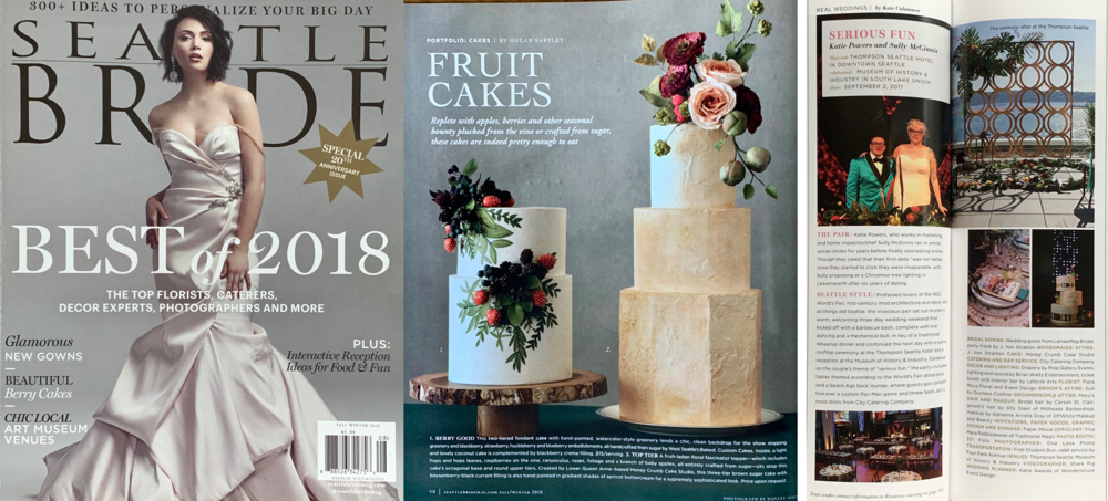 """Seattle Bride, Fall-Winter 2018 (full-page editorial feature, and """"Real Wedding"""" feature)"""