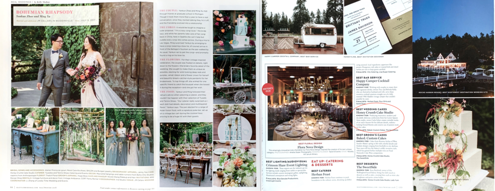 """Seattle Bride, Fall-Winter 2018 (Real Wedding feature, our second cover [November-December print run], and """"Best Wedding Cakes"""" winner in Best of Bride 2018)"""