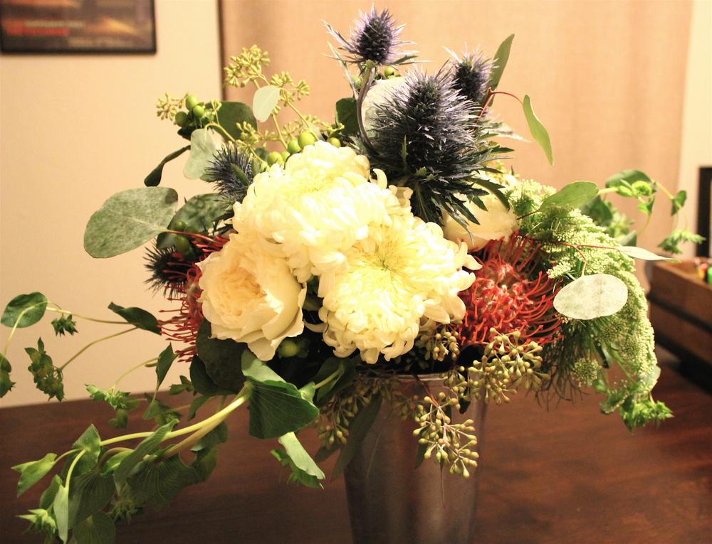 Bride's bouquet that doubled as the dessert table centerpiece