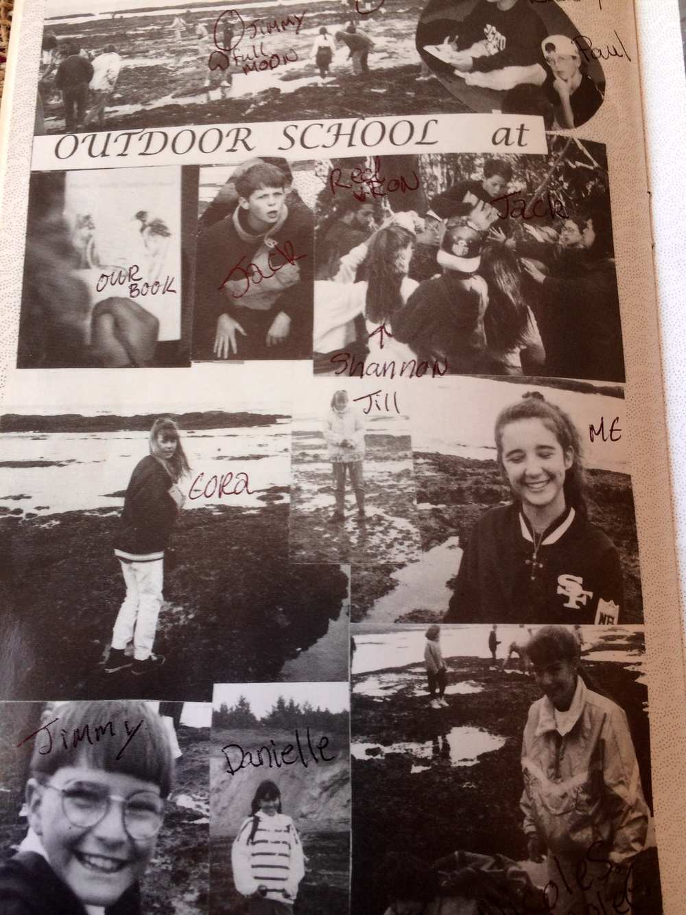 Our 6th Grade Camp spread in the Orchard School yearbook. Don't mind my lovely 6th grade penmanship.
