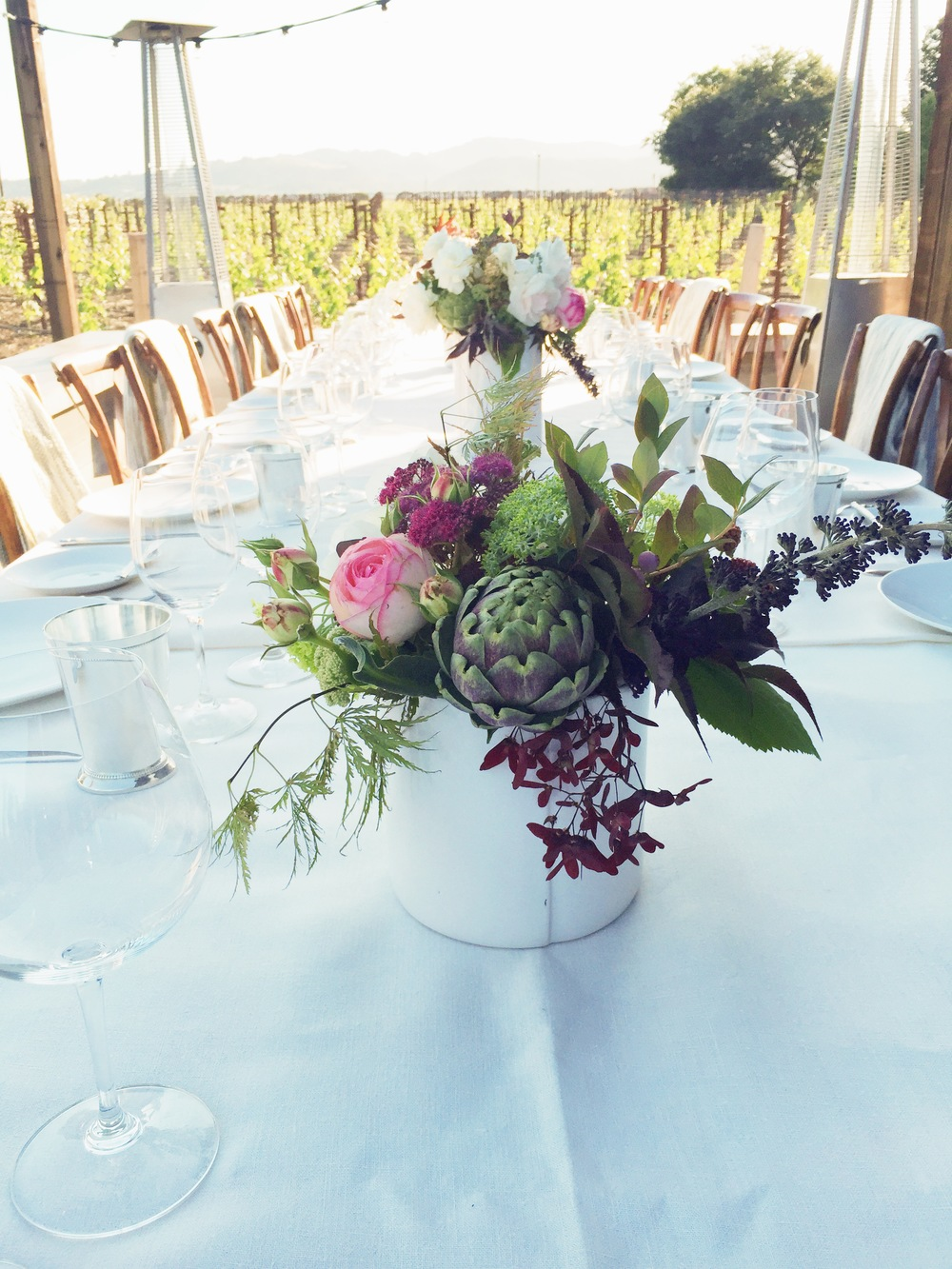 We foraged all the materials for these rehearsal dinner centerpieces from the expansive onsite garden. Need less to say, we fell in love with this venue! Event: Rehearsal Dinner, Private Estate, Napa, CA