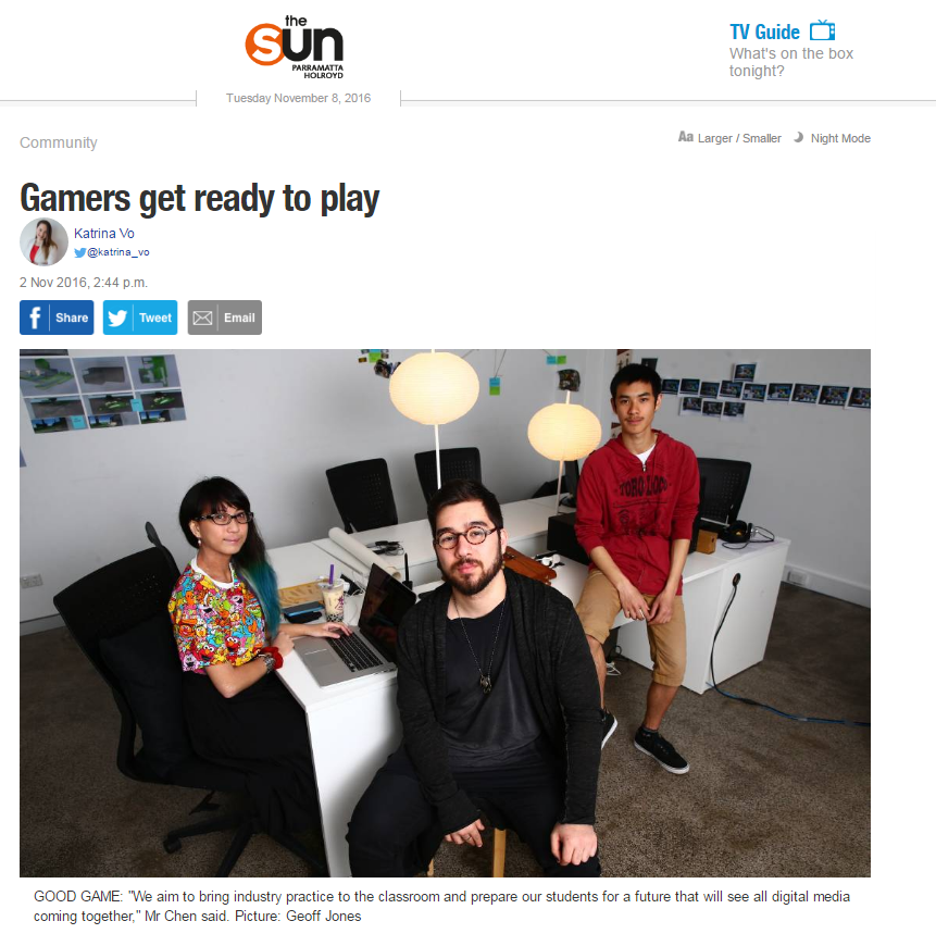 Fair fax media /The Parramatta Sun Interview for Path to Zenith and My colleagues video games  -  http://www.parramattasun.com.au/story/4268054/gamers-get-ready-to-play/