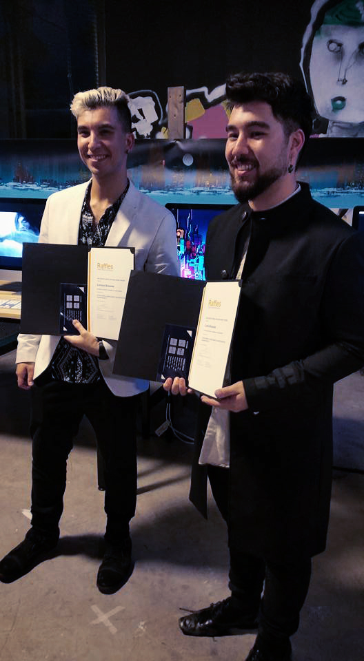 Myself and my Brother receiving- Trail Blazer Award for Outstanding innovation in Major work at our Graduate exhibition.