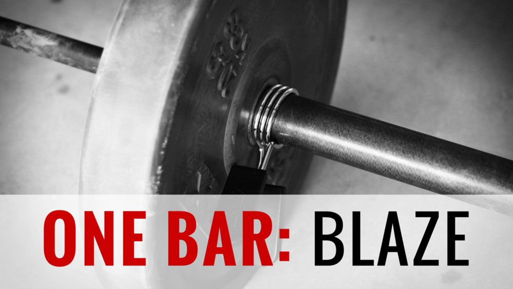ONE BAR BLAZE  4-Week Barbell Program | 27 Total Training Days | 28 Athlete Brief Videos | Goal: Improve Strength & Conditioning with next to no equipment Heading down the one barbell path doesn't allow you to enjoy simplicity without a degree of complexity. You have to know how to lift the barbell properly, not just form, but methodology. Now, to truly get into an effective program and to get to those heavier loads we will implement the max effort method, dynamic effort method and repeated effort method in a very simple way. Not even a rack is required in this program!! Just a bar and plates!!