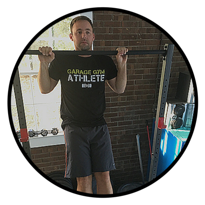"CALEB ""I am stronger and better conditioned than ever before. I am 30 years old and my primary goal is to be strong and healthy so I can be active and reduce my injury risks. Garage Gym Athlete has and continue to help me realize that goal!"""