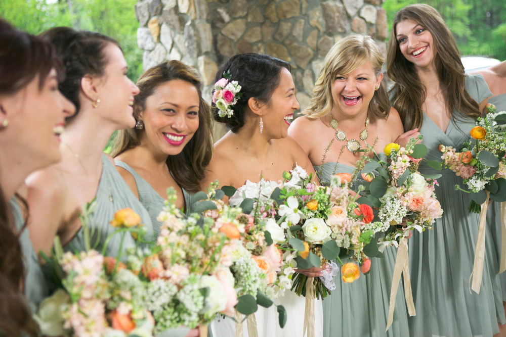 the lovely bridesmaids in dusty shale j. crew gowns
