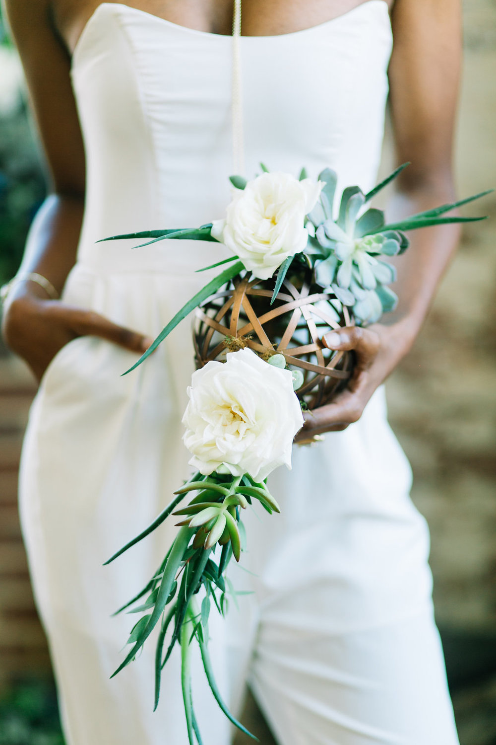 bold, modern, bridal bouquet sphere with roses & succulents, industrial charleston wedding planners at the cedar room cigar factory