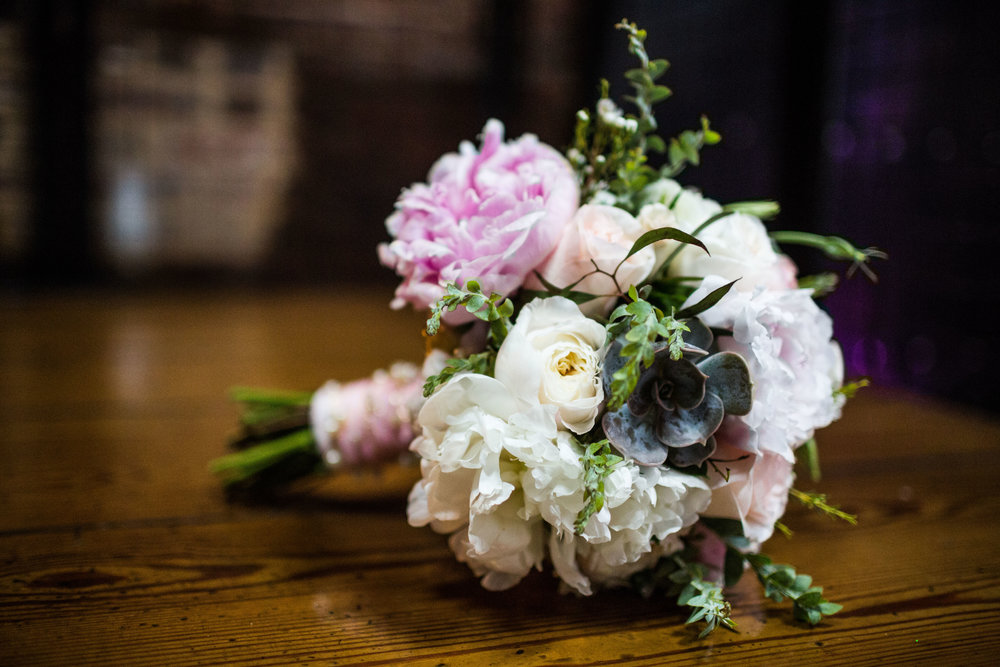 atlanta king plow wedding planners scarlet plan & design | blush pink bridal bouquet with peonies, white garden roses, succulents and ranunculus
