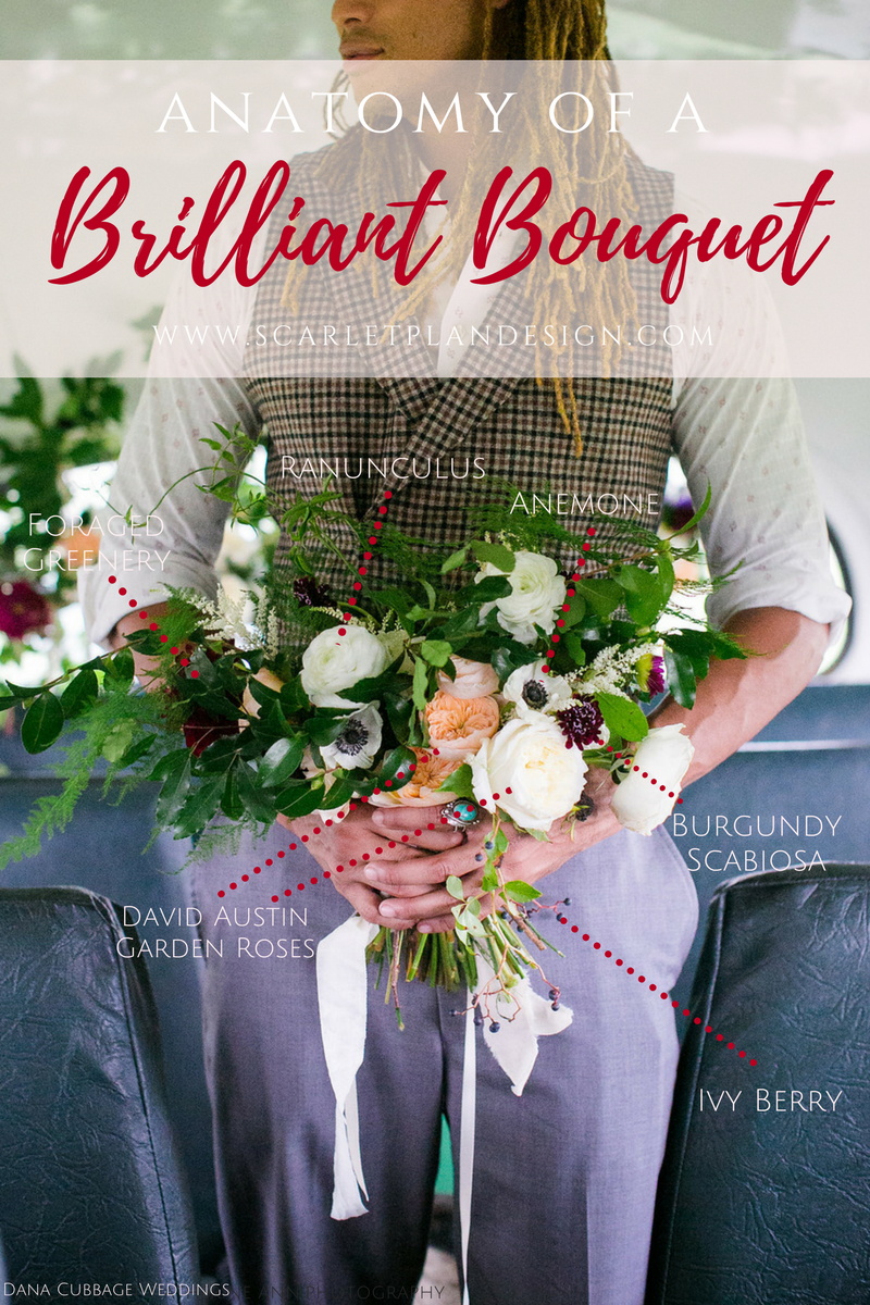 anatomy of a bridal bouquet | what flowers should you choose for your wedding bouquet | scarlet plan & design, charleston, atlanta, greenville wedding planners