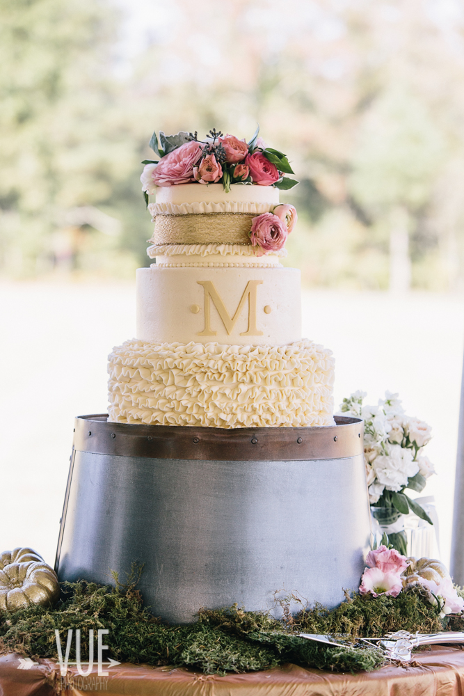 North Georgia Mountains, Atlanta, Greenville Rustic Blush & Gold Monogram Wedding Cake | Greenville Wedding Planners, Scarlet Plan & Design