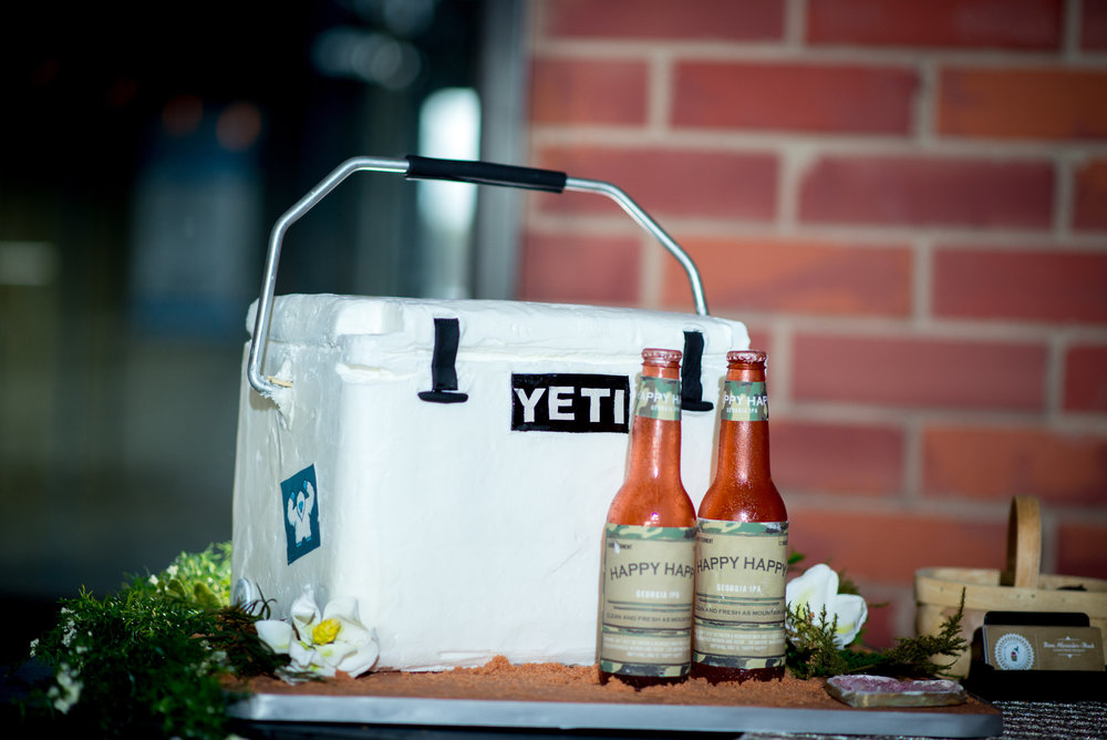 SweetWater Brewing Co Atlanta Wedding Planners | Beer Themed Brewery Wedding Groom's Yeti Cooler Cake | Scarlet Plan & Design