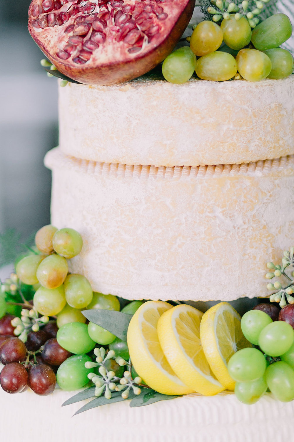 Boone Hall Plantation Charleston Wedding Planners | Rustic Cheese Wheel Pomegranates and Wine Wedding Cake | Scarlet Plan & Design