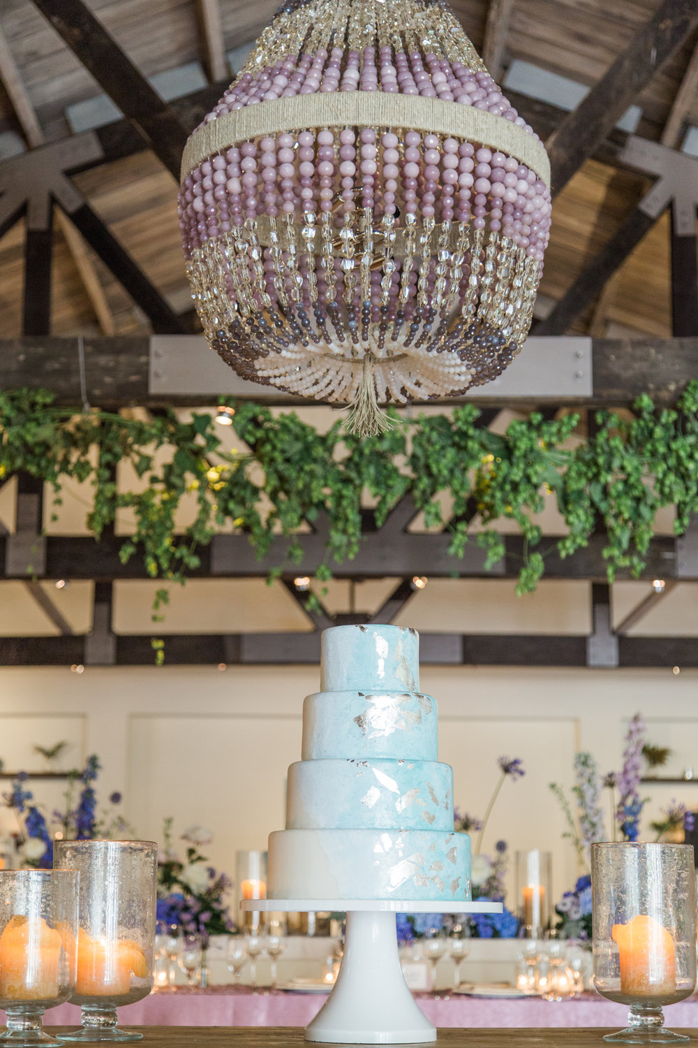 lilac, lavender & periwinkle luxury elopement wedding cake at cannon green charleston by scarlet plan & design for revolution wedding tours | Charleston, Greenville, Atlanta Wedding Planners