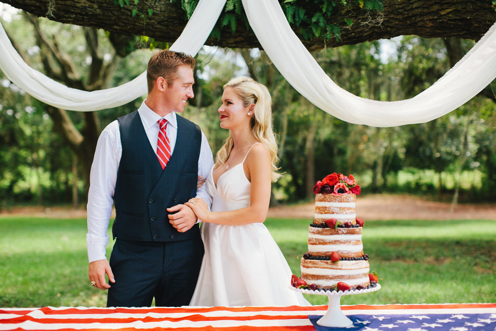 red, white and blue all-american military naked wedding cake inspiration in charleston at wingate plantation by scarlet plan & design for revolution wedding tours