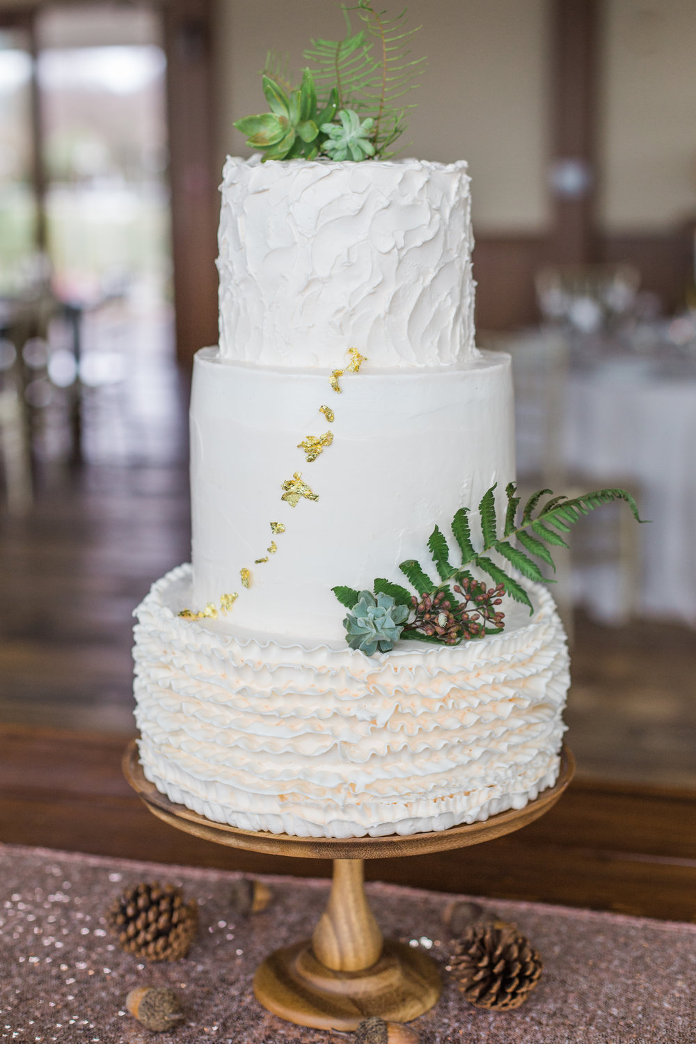 Charleston Harbor Resort & Marina Eco-friendly Rustic Elegant Wedding Cake with Succulents, Ferns and Magnolia | Charleston Wedding Planners Scarlet Plan & Design