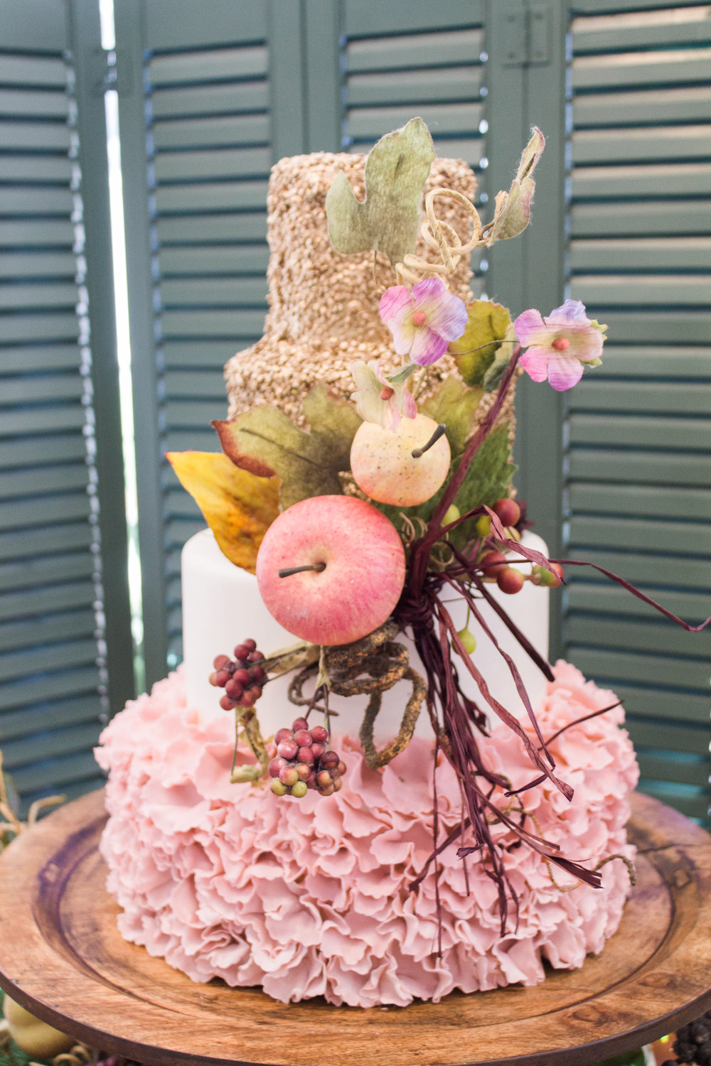 Rustic Fall Wedding Cake with Apples, Pears, Berries, Blush Pink, Gold and Ruffles at The Mackey House in Savannah, GA | Savannah, Charleston, Greenville Wedding Planners Scarlet Plan & Design