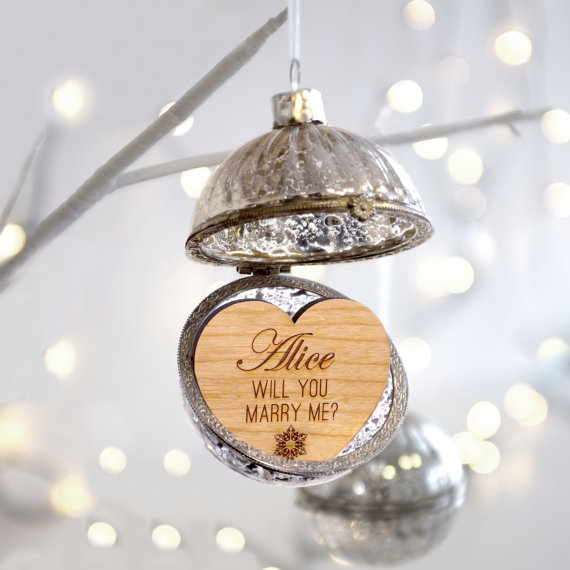 christmas ornament will you marry me marriage proposal ring box