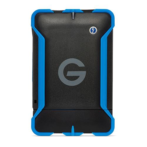 G-Technology 1TB Rugged - • 7200RPM Hard Drive• USB-3.0• Thunderbolt 2If you need something a little more robust, this G-Tech rugged hard drive is a good contender. Protected in a rugged hardshell casing, you can drop it, knock it, throw it and it'll still hold up. HOWEVER, I don't ever recommend doing any of that on purpose with a hard disk because it has moving parts, moving parts means things can break.