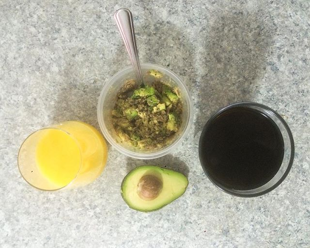My breakfast game lately, sardines + avocado + caffeine, sometimes OJ and always a smoothie (not pictured). Start your day off right with good fats and nutrition then kill it!!