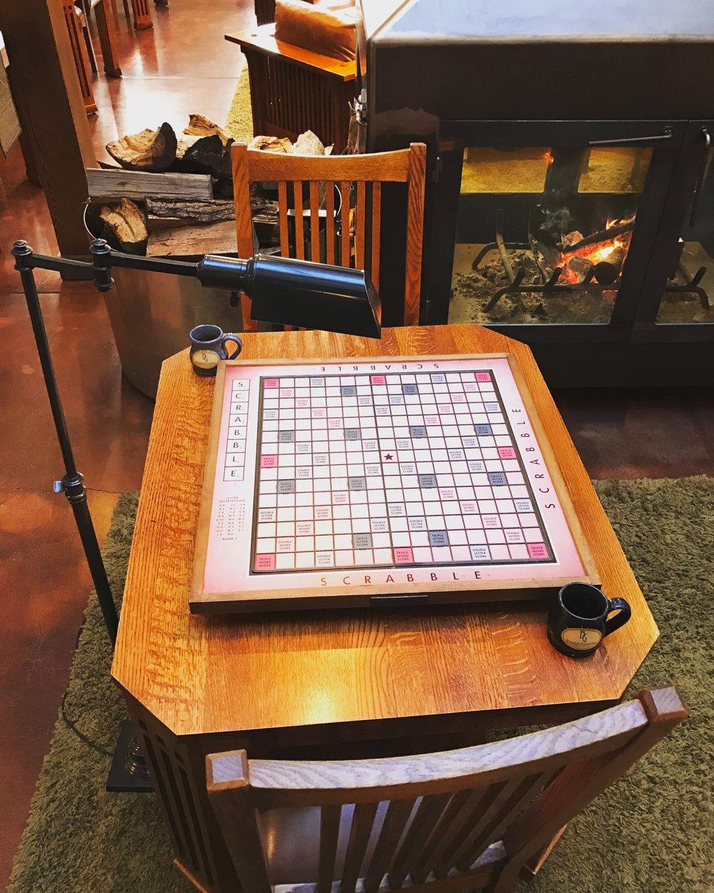 The amazing jumbo Scrabble board that I won many rounds on.