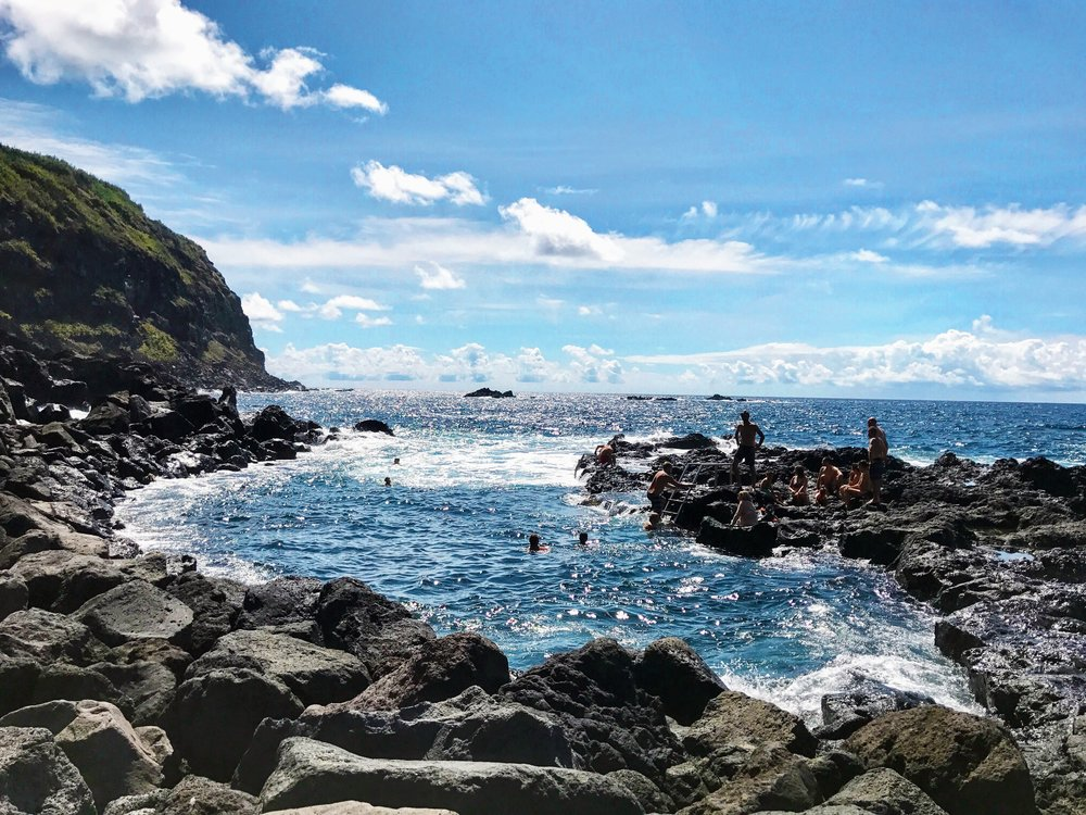 After seeing all the beautiful scenic spots, our last stop was visiting Ponta da Ferraria. I know, you're probably saying another thermal pool? BUT this one was an all natural one in the ocean! It was much more chilly than other thermal pools but worth the trip.