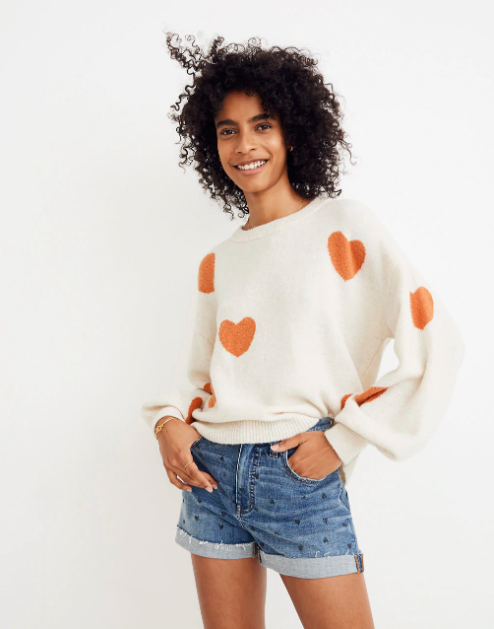 Madewell  heart dot balloon- sleeve sweater.