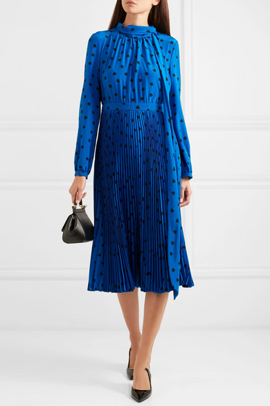 Valentino pussy-bow  pleated printed silk midi dress.